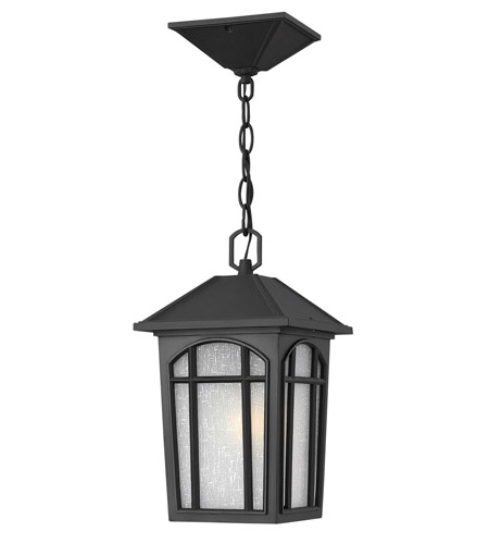 Hinkley 1982BK-GU24 Cedar Hill 1 Light 8 inch Black Outdoor Hanging in GU24, Linen Glass photo