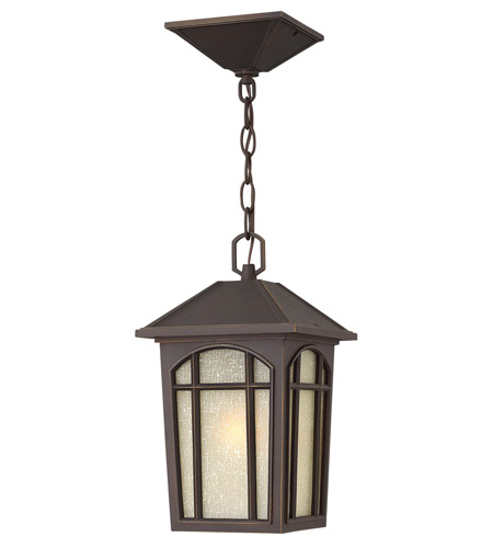 Hinkley 1982OZ-GU24 Cedar Hill 1 Light 8 inch Oil Rubbed Bronze Outdoor Hanging in GU24, Linen Glass photo