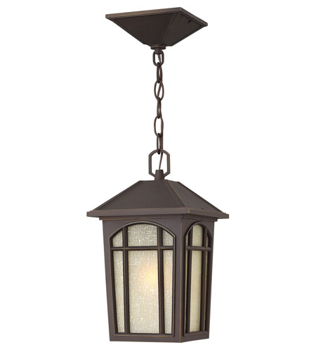 Hinkley 1982OZ-LED Cedar Hill LED 8 inch Oil Rubbed Bronze Outdoor Hanging Lantern, Linen Glass photo
