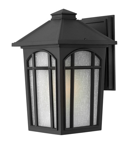 Hinkley 1984BK-LED Cedar Hill LED 13 inch Black Outdoor Wall Lantern, Linen Glass photo