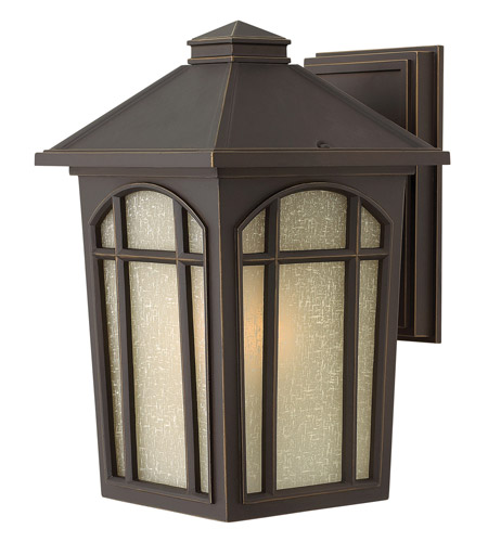 Hinkley 1984OZ-GU24 Cedar Hill 1 Light 13 inch Oil Rubbed Bronze Outdoor Wall in GU24, Linen Glass photo