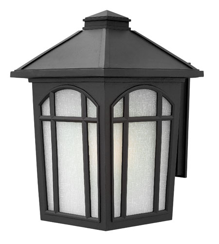 Hinkley 1985BK-GU24 Cedar Hill 1 Light 17 inch Black Outdoor Wall in White Linen, GU24, Linen Glass photo