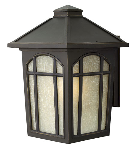 Hinkley 1985OZ-GU24 Cedar Hill 1 Light 17 inch Oil Rubbed Bronze Outdoor Wall in Amber Linen, GU24, Linen Glass photo