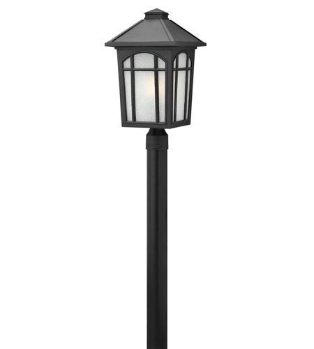 Hinkley 1989BK-GU24 Cedar Hill 1 Light 20 inch Black Post Lantern in White Linen, GU24, Linen Glass photo