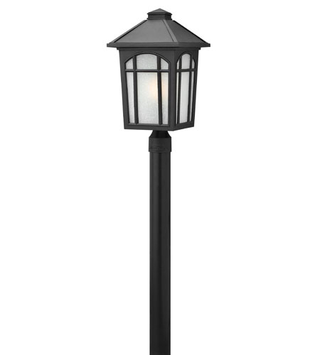 Hinkley 1989BK-LED Cedar Hill 1 Light 20 inch Black Post Lantern in White Linen, LED, Linen Glass, Post Sold Separately photo