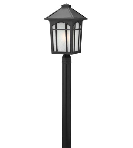 Hinkley 1989BK Cedar Hill 1 Light 20 inch Black Post Lantern, Linen Glass, Post Sold Separately photo