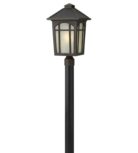 Hinkley 1989OZ-GU24 Cedar Hill 1 Light 20 inch Oil Rubbed Bronze Post Lantern in Amber Linen, GU24, Linen Glass photo