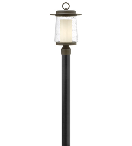 Hinkley 2011OZ-LED Riley LED 19 inch Oil Rubbed Bronze Outdoor Post Mount in Clear Seedy and Etched Opal, Clear Seedy Glass photo