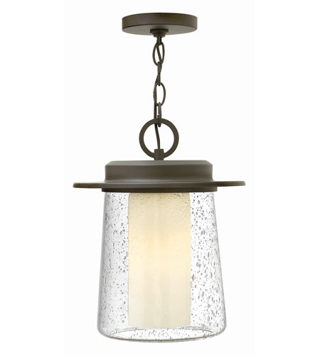 Hinkley 2012OZ-GU24 Riley 1 Light 11 inch Oil Rubbed Bronze Outdoor Hanging Lantern in GU24, Seedy Outer/Etched Opal Inner Glass photo
