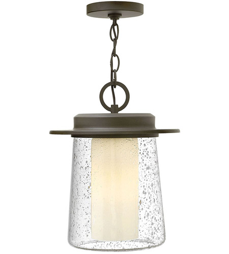 Hinkley 2012OZ Riley 1 Light 11 inch Oil Rubbed Bronze Outdoor Hanging Light in Incandescent, Clear Seedy and Etched Opal, Seedy Outer/Etched Opal Inner Glass photo