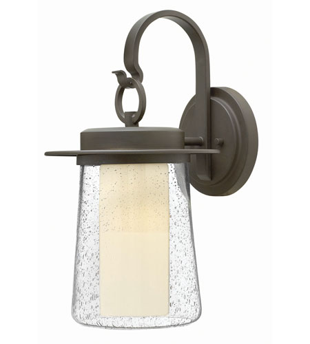 Hinkley 2014OZ-GU24 Riley 1 Light 18 inch Oil Rubbed Bronze Outdoor Wall in GU24, Seedy Outer/Etched Opal Inner Glass photo