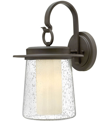 Hinkley 2015OZ-LED Riley LED 19 inch Oil Rubbed Bronze Outdoor Wall Mount in Clear Seedy and Etched Opal, Clear Seedy Glass photo