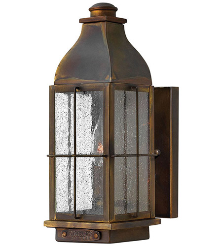 Hinkley 2040SN Bingham 1 Light 13 inch Sienna Outdoor Wall Mount, Clear Seedy Glass photo