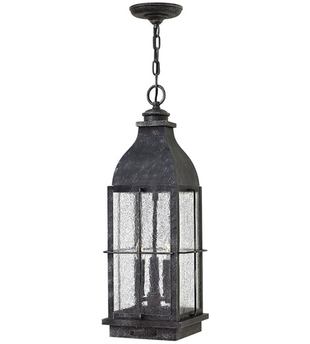 Hinkley 2042GS Bingham 3 Light 8 inch Greystone Outdoor Hanging Lantern, Clear Seedy Glass photo