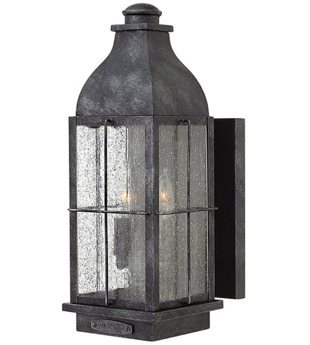 Hinkley 2044GS Bingham 2 Light 16 inch Greystone Outdoor Wall Mount, Clear Seedy Glass photo