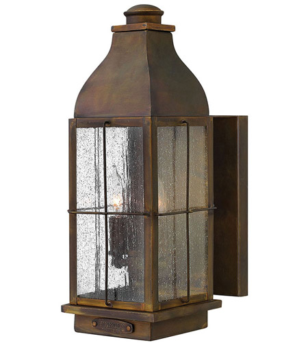 Hinkley 2044SN Bingham 2 Light 16 inch Sienna Outdoor Wall Lantern, Clear Seedy Glass photo