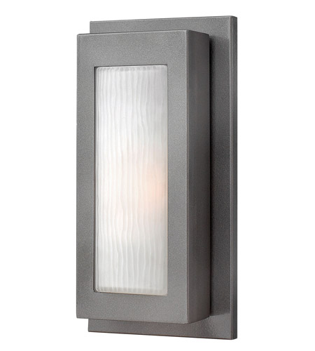 Hinkley 2050HE-GU24 Titan 1 Light 14 inch Hematite Outdoor Wall in GU24, Etched Glass photo