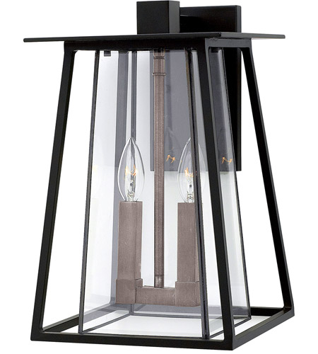 Hinkley 2104BK Walker 2 Light 15 inch Black Outdoor Wall Mount in Candelabra photo
