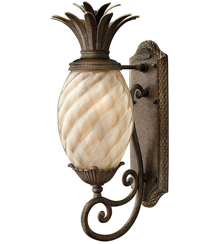 Hinkley 2120PZ Plantation 1 Light 22 inch Pearl Bronze Outdoor Wall Lantern in Light Amber Inside-Sandblasted Optic, Incandescent photo