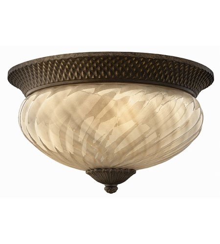 Hinkley 2123PZ-ES Plantation 2 Light 16 inch Pearl Bronze Outdoor Flush Lantern photo