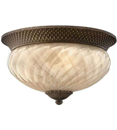 Hinkley 2123PZ Plantation 3 Light 16 inch Pearl Bronze Outdoor Flush Mount in Incandescent photo