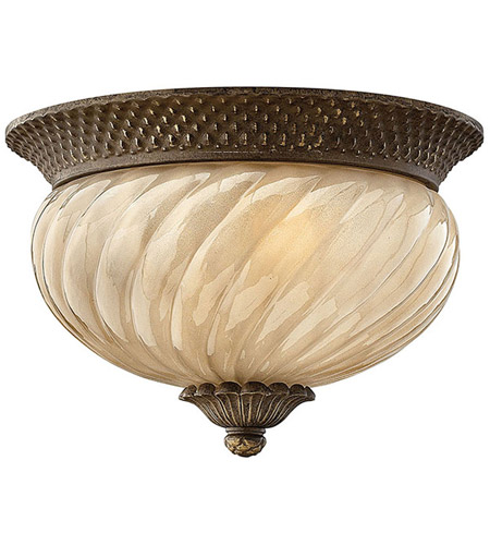Hinkley 2128PZ Plantation 2 Light 12 inch Pearl Bronze Outdoor Flush Lantern in Incandescent photo