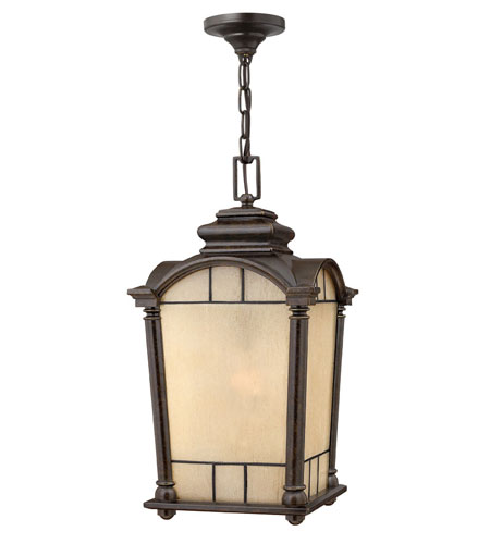 Hinkley Lighting Wellington 1 Light Outdoor Hanging Lantern in Regency Bronze 2162RB-ES