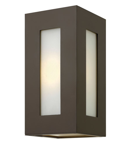 Hinkley 2190BZ-GU24 Dorian 1 Light 12 inch Bronze Outdoor Wall in GU24, White Etched Glass photo