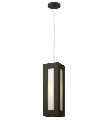 Hinkley 2192BZ-GU24 Dorian 1 Light 6 inch Bronze Outdoor Hanging in GU24, White Etched Glass photo