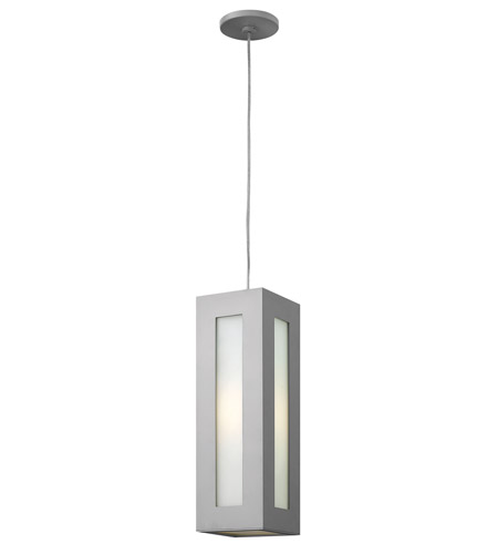 Hinkley 2192TT-GU24 Dorian 1 Light 6 inch Titanium Outdoor Hanging in GU24, White Etched Glass photo