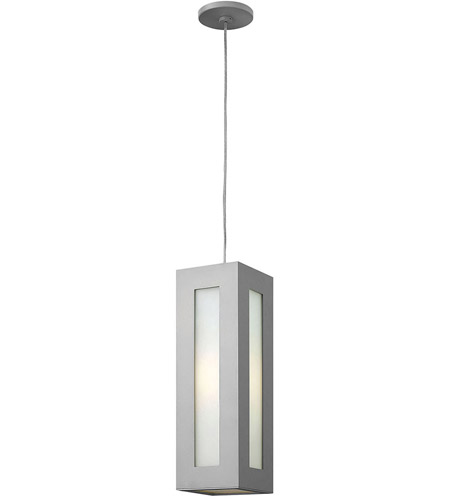 Hinkley 2192TT Dorian 1 Light 6 inch Titanium Outdoor Hanging in Incandescent, White Etched Glass photo