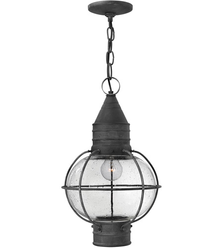 Hinkley Lighting Cape Cod 1 Light Outdoor Hanging Lantern in Aged Zinc 2202DZ-LED photo