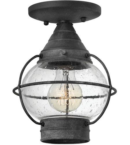 Hinkley Lighting Cape Cod 1 Light Outdoor Flush Lantern in Aged Zinc 2203DZ-LED