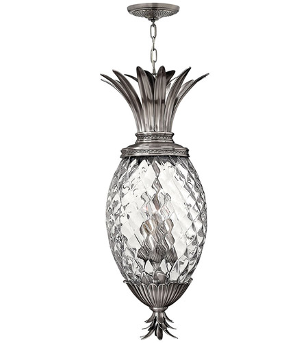 Hinkley 2222PL Plantation 4 Light 13 inch Polished Antique Nickel Foyer Pendant Ceiling Light, Large photo
