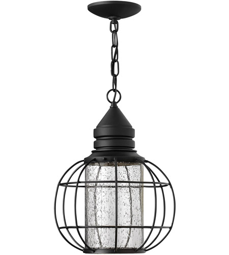 Hinkley 2252BK New Castle 1 Light 11 inch Black Outdoor Hanging, Seedy Glass photo