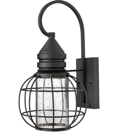 Hinkley 2254BK New Castle 1 Light 17 inch Black Outdoor Wall, Seedy Glass photo