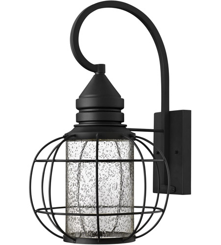 Hinkley 2255BK New Castle 1 Light 20 inch Black Outdoor Wall, Seedy Glass photo