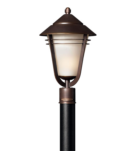 Hinkley 2281MT-GU24 Aurora 1 Light 19 inch Metro Bronze Post Lantern, Amber Etched Seedy Glass photo