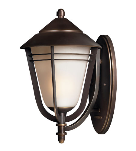 Hinkley 2285MT-GU24 Aurora 1 Light 18 inch Metro Bronze Outdoor Wall in GU24, Amber Etched Seedy Glass photo