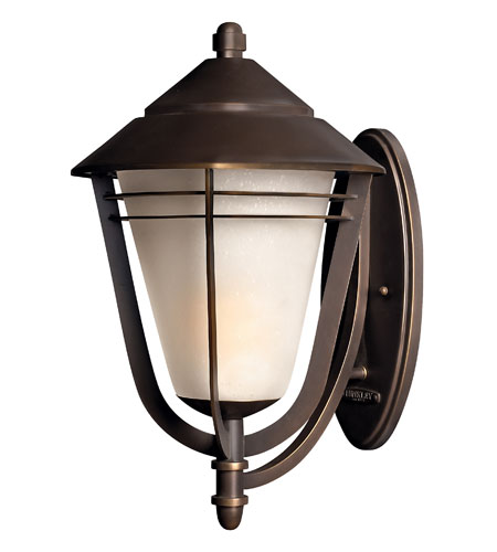 Hinkley 2289MT-GU24 Aurora 1 Light 22 inch Metro Bronze Outdoor Wall, Amber Etched Seedy Glass  photo