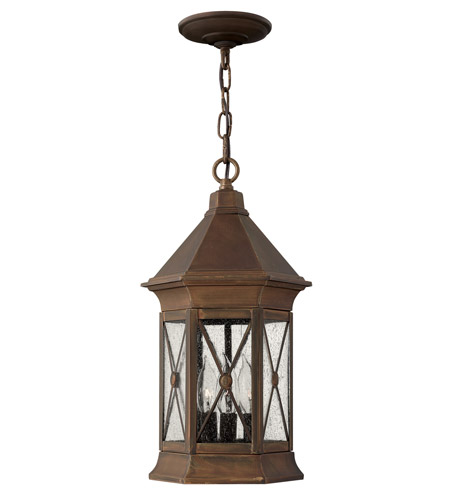 Hinkley 2292SN Brighton 3 Light 9 inch Sienna Outdoor Hanging Lantern in Incandescent photo