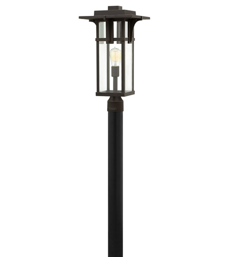 Hinkley 2321OZ-LED Manhattan 1 Light 22 inch Oil Rubbed Bronze Post Mount in LED, Clear Beveled Glass photo