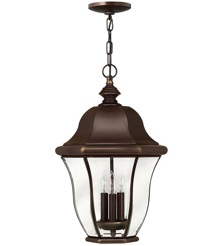 Hinkley Lighting Monticello 3 Light Outdoor Hanging Lantern in Copper Bronze 2332CB