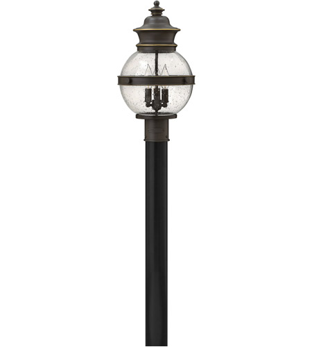 Hinkley 2341OZ Saybrook 3 Light 19 inch Oil Rubbed Bronze Outdoor Post Mount, Clear Seedy Glass photo
