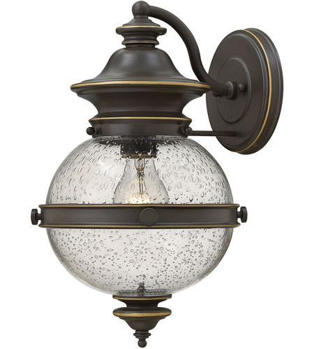 Hinkley 2344OZ Saybrook 1 Light 14 inch Oil Rubbed Bronze Outdoor Wall Mount, Clear Seedy Glass photo