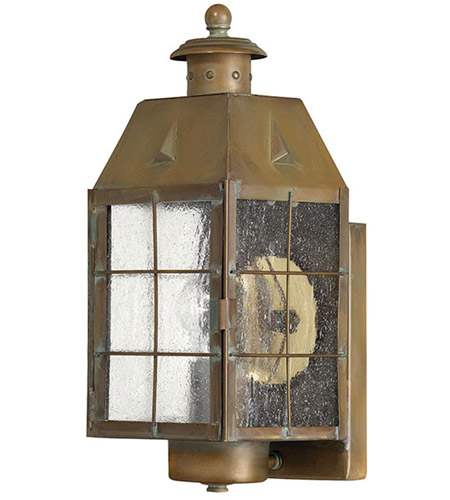 Hinkley Lighting Nantucket 1 Light Outdoor Wall Lantern in Aged Brass 2370AS