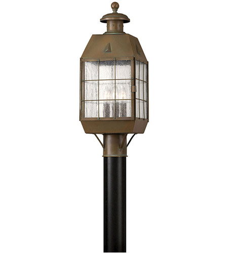 Hinkley Lighting Nantucket 3 Light Post Lantern (Post Sold Separately) in Aged Brass 2371AS photo