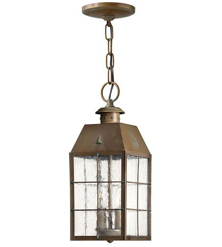 Hinkley Lighting Nantucket 2 Light Outdoor Hanging Lantern in Aged Brass 2372AS