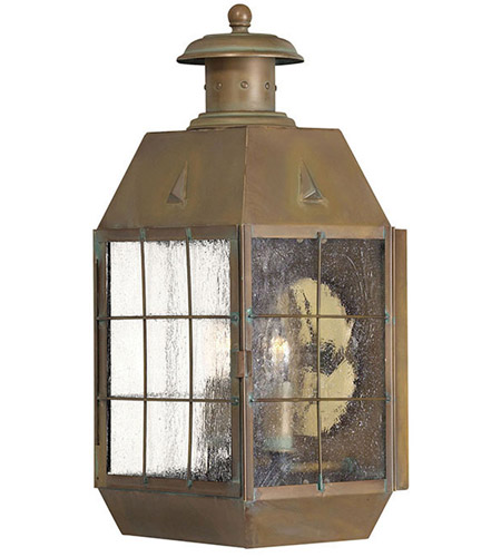 Hinkley Lighting Nantucket 2 Light Outdoor Wall Lantern in Aged Brass 2374AS
