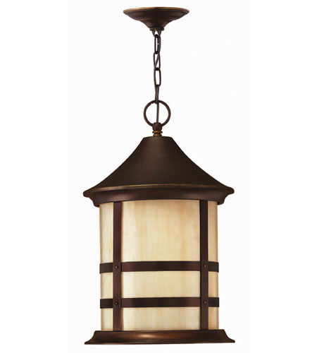 Hinkley Lighting Oak Park 1 Light Outdoor Hanging Lantern in Copper Bronze 2392CB-ES